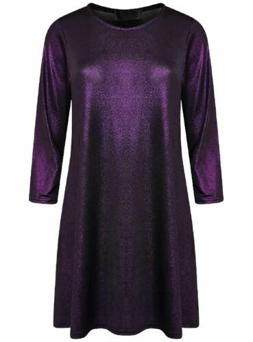 Womens 3//4 Sleeve Christmas Lurex Swing Dress Ladies Plus Size Party Wear Dress