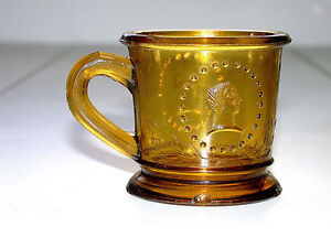 Beautiful-Antique-EAPG-Early-American-Pattern-Amber-Glass-Mug