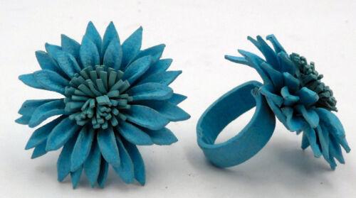 Bague Vintage fleur marguerite bleu turquoise en cuir taille réglable