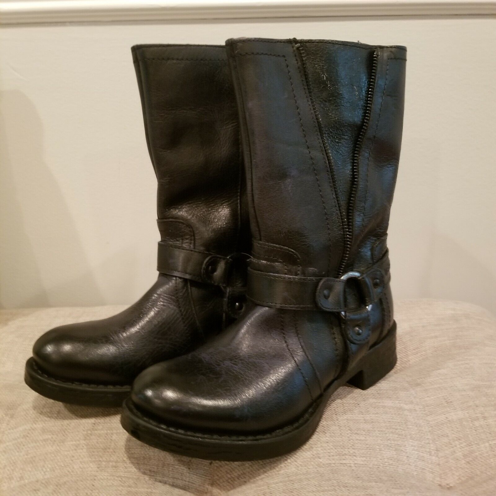 Liberto Short Black Motorcycle Engineer Boots Leather Sz. 6 Womens Portugal