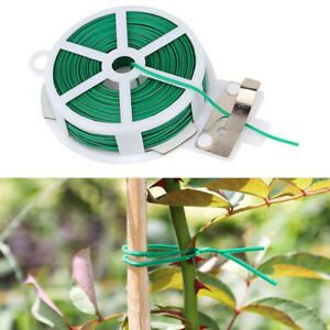 20M-Gardening-Plant-Support-Twist-Tie-Green-Wire-Roll-and-Cutter-Garden-tieJCjb