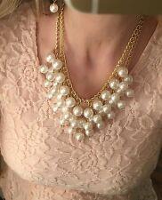 H&M Statementkette Perlen Perlenkette Collier Halskette Gold Weiß Creme 2-Layer