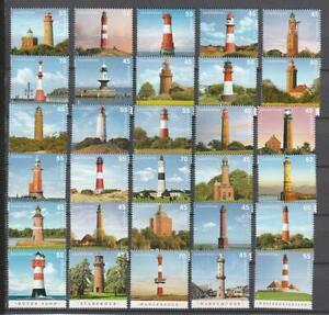 Bund-aus-2004-2018-postfrische-Serie-Leuchttuerme-komplette-Ausgabe