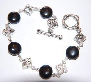 BLACK-AGATE-Gemstone-Tibetan-Silver-Bracelet-Toggle-amp-Celtic-Knot-Beads