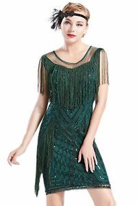 30e94bc2c2 BABEYOND 1920s Gatsby Dress Long Fringe Flapper Dress Sequins Beaded ...