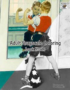Adulto-colorazione-BOOK-24-pagine-per-Ragazzi-vita-NORMAN-ROCKWELL-Flonz-scala-di-grigi-063