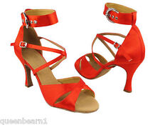 Red Satin Ballroom Salsa Latin Dance Shoes heel 2.5 Size 7 Very fine 7002