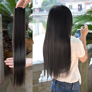 Fashion Women s Straight Long Hair Extensions Synthetic Clip in hair ... cb2226dc8