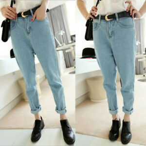 5bf6b8a3f Image is loading Womens-Mid-Waisted-Baggy-Boyfriend-Oversized-Mom-Jeans-