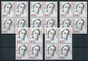 20-x-Bund-1390-postfrisch-Viererbloecke-5-Stueck-VB-Frauen-BRD-1988-MNH
