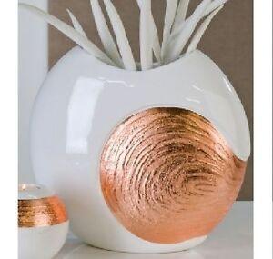 Große Blumenvase große blumenvase vase casablanca elea weiß kupfer 30 cm keramik