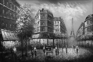 Hand Painted Oil Painting Paris Street With Eiffel Tower Black White 24x36in Ebay