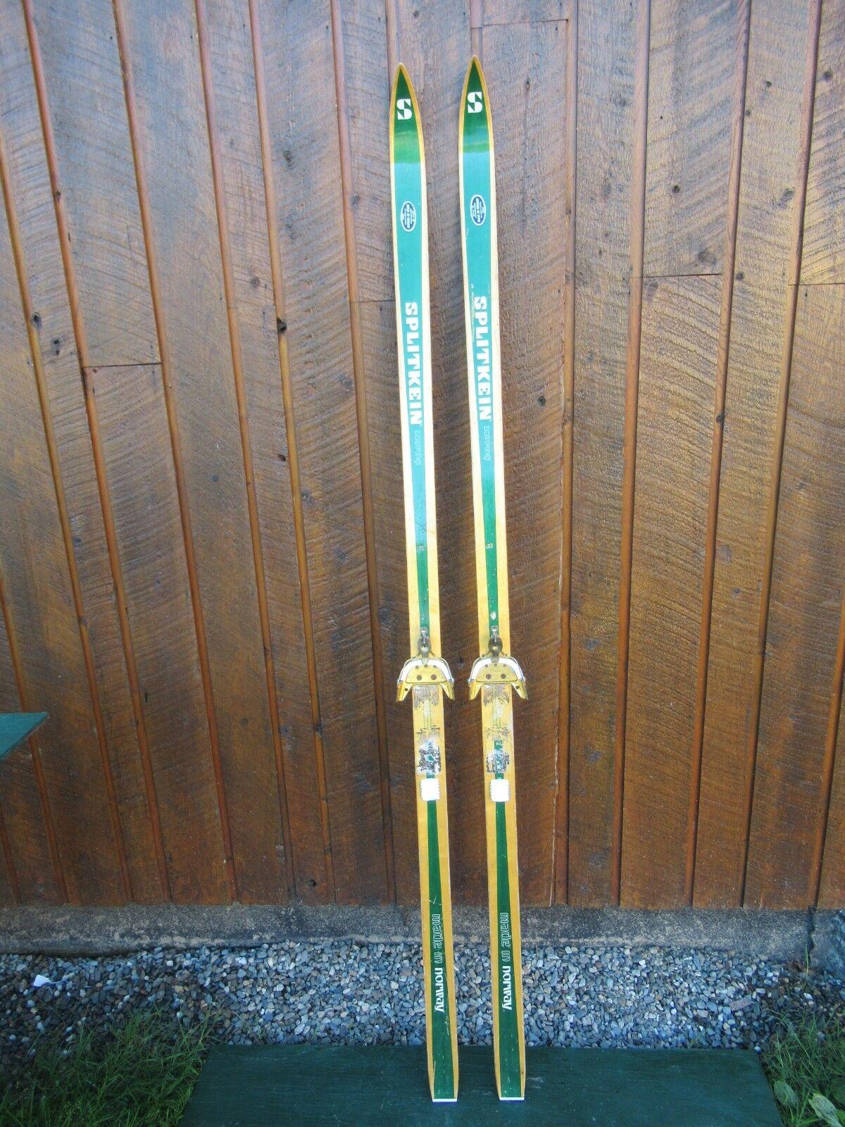 Vintage Wooden Skis 73  Long Has Original Green Brown Finish and Bindings