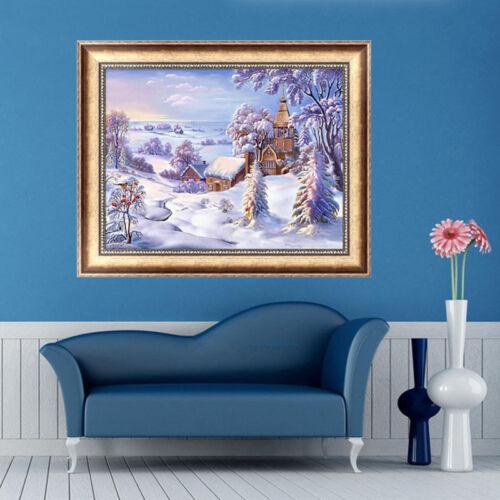 DIY 5D Diamond Snow Scene Painting Cross Stitch Kit Embroidery Home Decor Craft