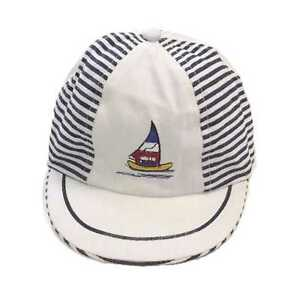 0ae2ab085d4 BABY BOY EMBROIDERED CAP SUMMER SUN HAT BASEBALL WHITE STRIPY YACHT ...