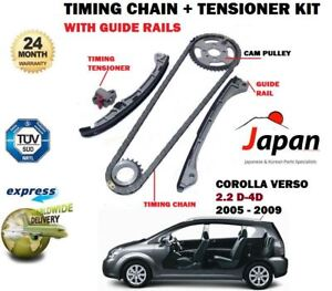 FOR TOYOTA COROLLA + VERSO 2.2 D4D 2005-> TIMING CHAIN + TENSIONER KIT + GUIDES