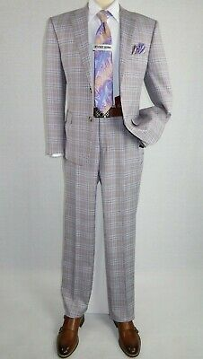 Mens Suit by RENOIR English Plaid Window Pane European Business 291-2 Gray Slim