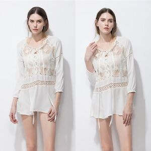 New-Women-Lace-Crochet-Bathing-Suit-Bikini-Swimwear-Cover-Up-Beach-Dress-Tops