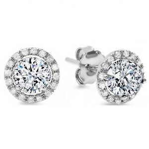 2bdd1d6e7 Details about 1.5ct Round Cut Stud Halo Solitaire Earrings Solid 14k White  Gold Screw Back