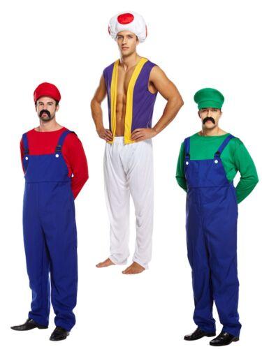 Adult Mens Super Mario Bros Mushroom Toad Plumber Workman 80s Game Fancy Dress