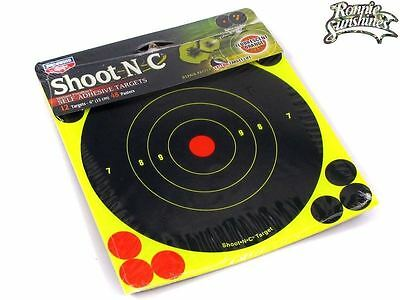 12x Shoot-N-C 15cm Fluorescent Splatter Air Gun Rifle Pistol Targets +48 Patches