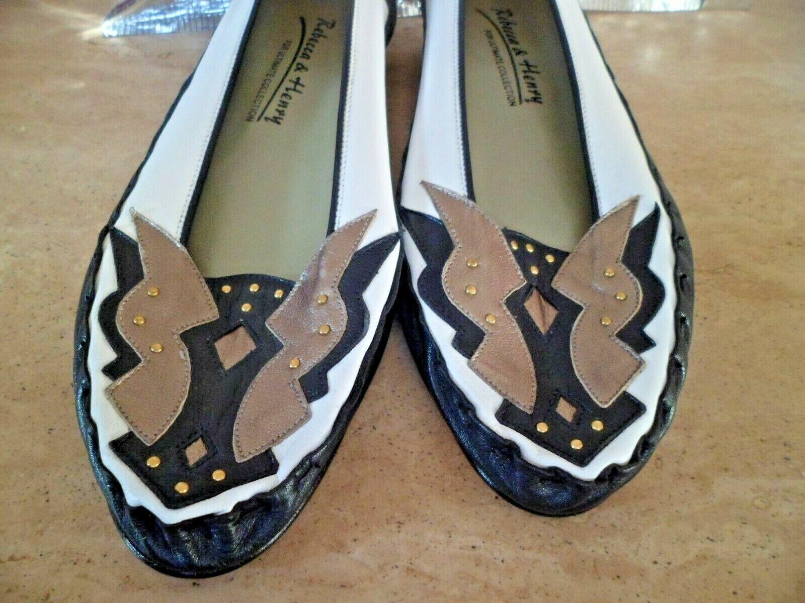 Zapatos De Cuero Rebecca Rebecca Rebecca & Henry Azul Marino, blancoo Y Bronce Suave UK 6.5 EU 39. nuevo  distribución global