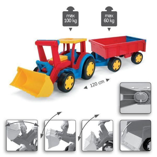 Remolque de tractor Gigant con pala y 120 Cm (47 pulgadas) Bulldozer grandes Juguete Grande