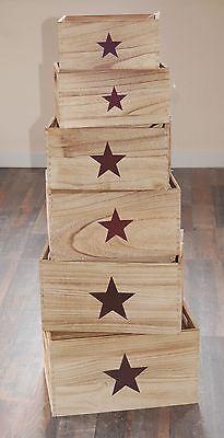 Dekoratives Holzkistenset 6er mit Stern Dekokiste Aufbewahrungskiste Holzkiste