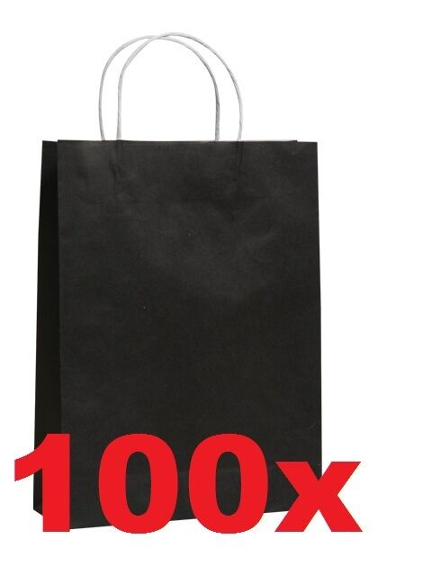 BLACK paper carry bag Flat Bottom WITH HANDLE 290x200x100mm pk of 100x