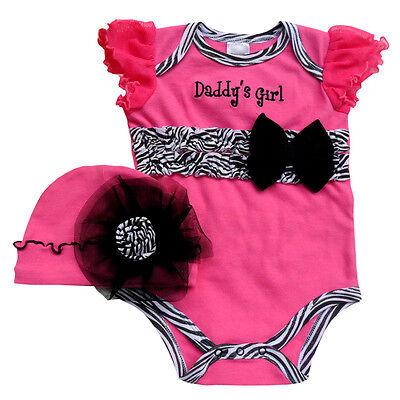 New 2pcs Newborn Baby Girl Infant Clothes Lace Flower Cap+ Jumpsuit Romper 0-12M