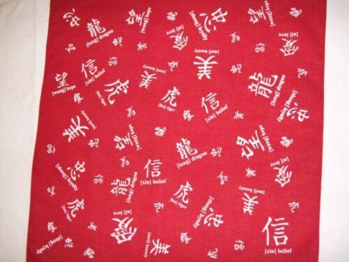 New CHINESE//ENGLISH RED Bandana Du-Rag Head Scarf