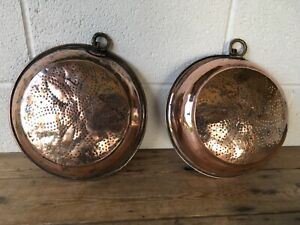 Antique-Georgian-18th-19th-century-Pair-of-copper-amp-brass-sieves