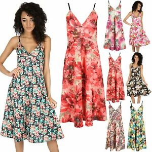Womens-Flare-Top-Cami-Strappy-Wrap-Over-Ladies-Mini-Swing-Skater-Dress-Plus-Size