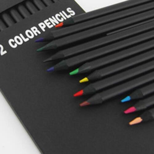 satz Hochwertige Bleistiftverpackung Buntstifte Schule Schwarz Holz 12 teile