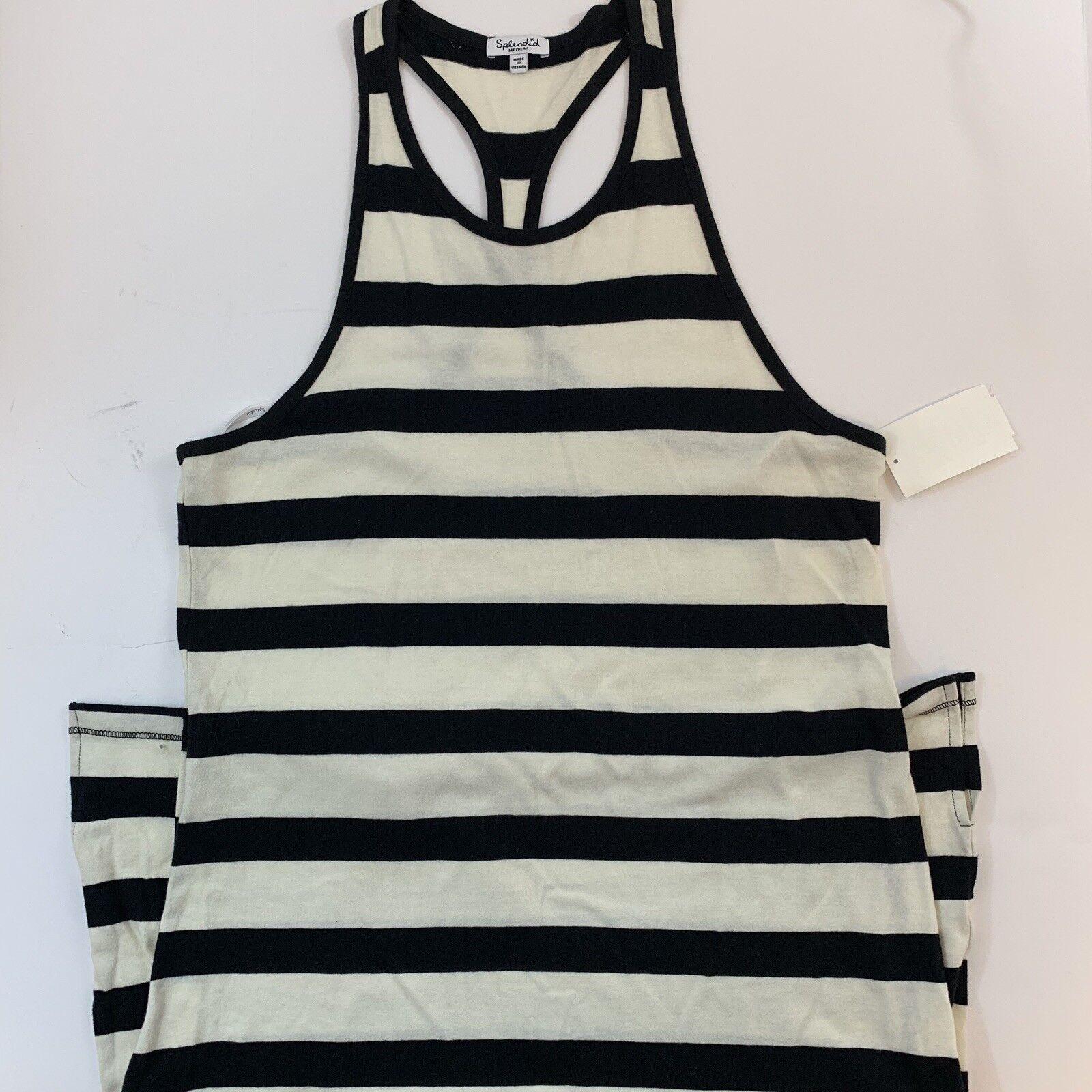 Splendid Blau ivory  Striped Sleeveless cotton long dress M