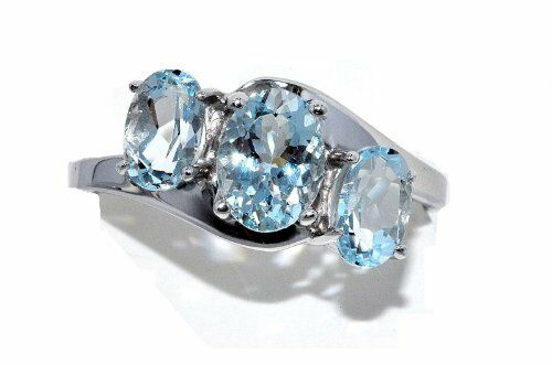 2 Ct Genuine Aquamarine Oval Ring .925 Sterling Silver