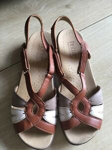 95aee867cc1be LADIES HOTTER FLARE LEATHER OPEN TOE FLAT SANDALS SHOES UK 5.5 WORN ...