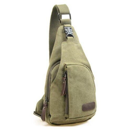 Shoulder Chest Sling Bags Travel Casual Motorbike Backpack Canvas Rucksack Army