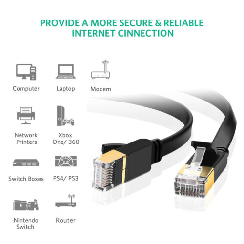 Gold CAT7 LAN Network Cable RJ45 STP Gigabit 10//100//1000Mbit//s for Switch//Router