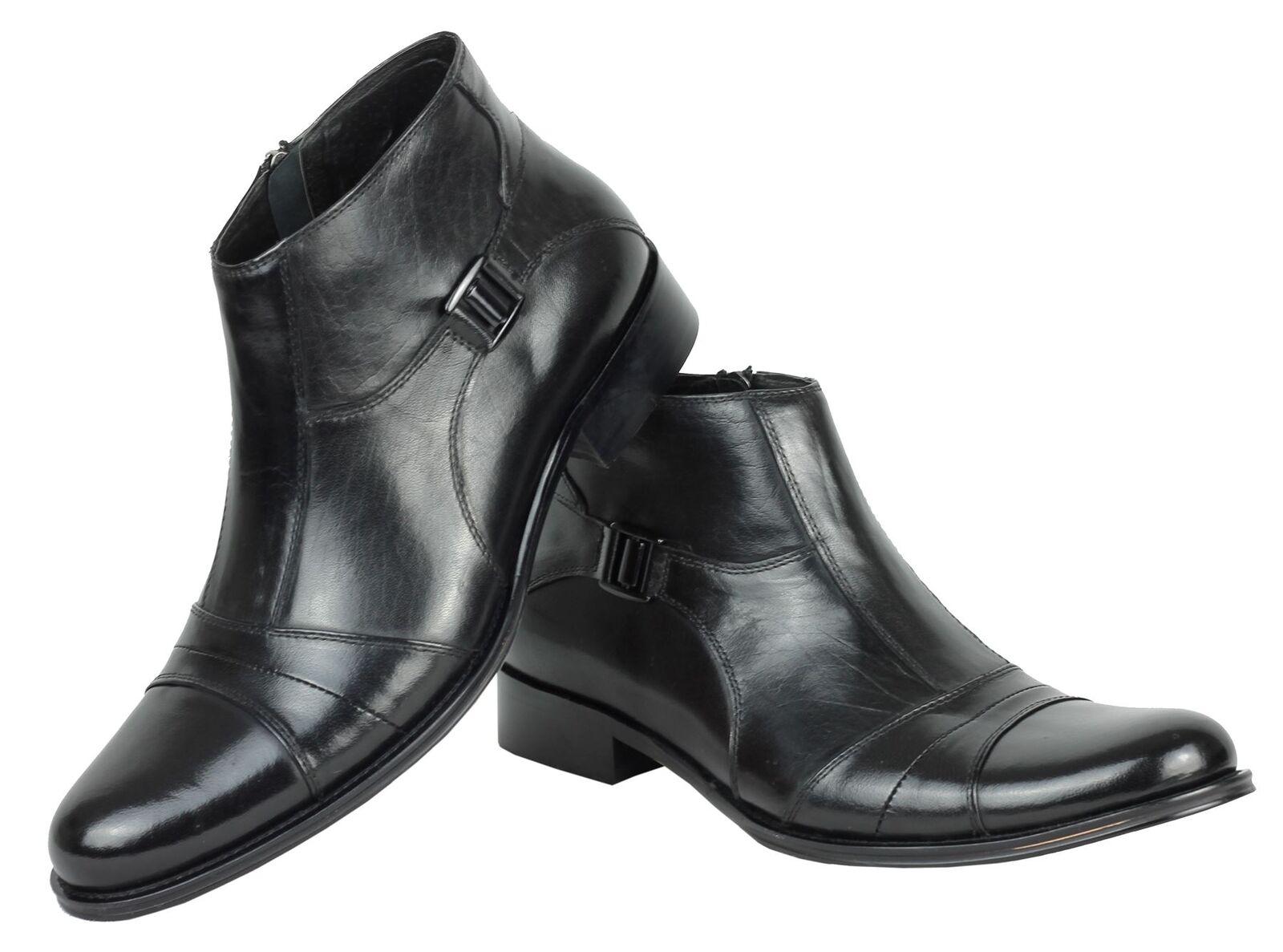 Casual salvaje Para Hombre De Cuero Real Lado Negro Hebilla Smart Casual formal de cierre de cremallera Botas Zapatos