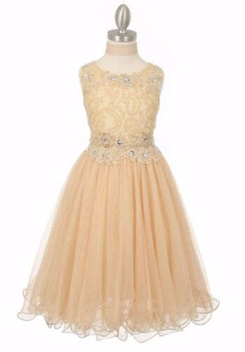 New Champagne Lace Flower Girls Dress Pageant Wedding Christmas Graduation 5010