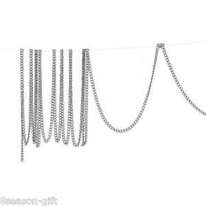 10M-Silver-Tone-Links-Opened-Curb-Aluminum-Chains-2mm-x1-5mm