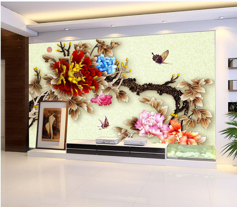 3D Bright Flowers Branch 031 Paper Wall Print Wall Decal Wall Deco Indoor Murals