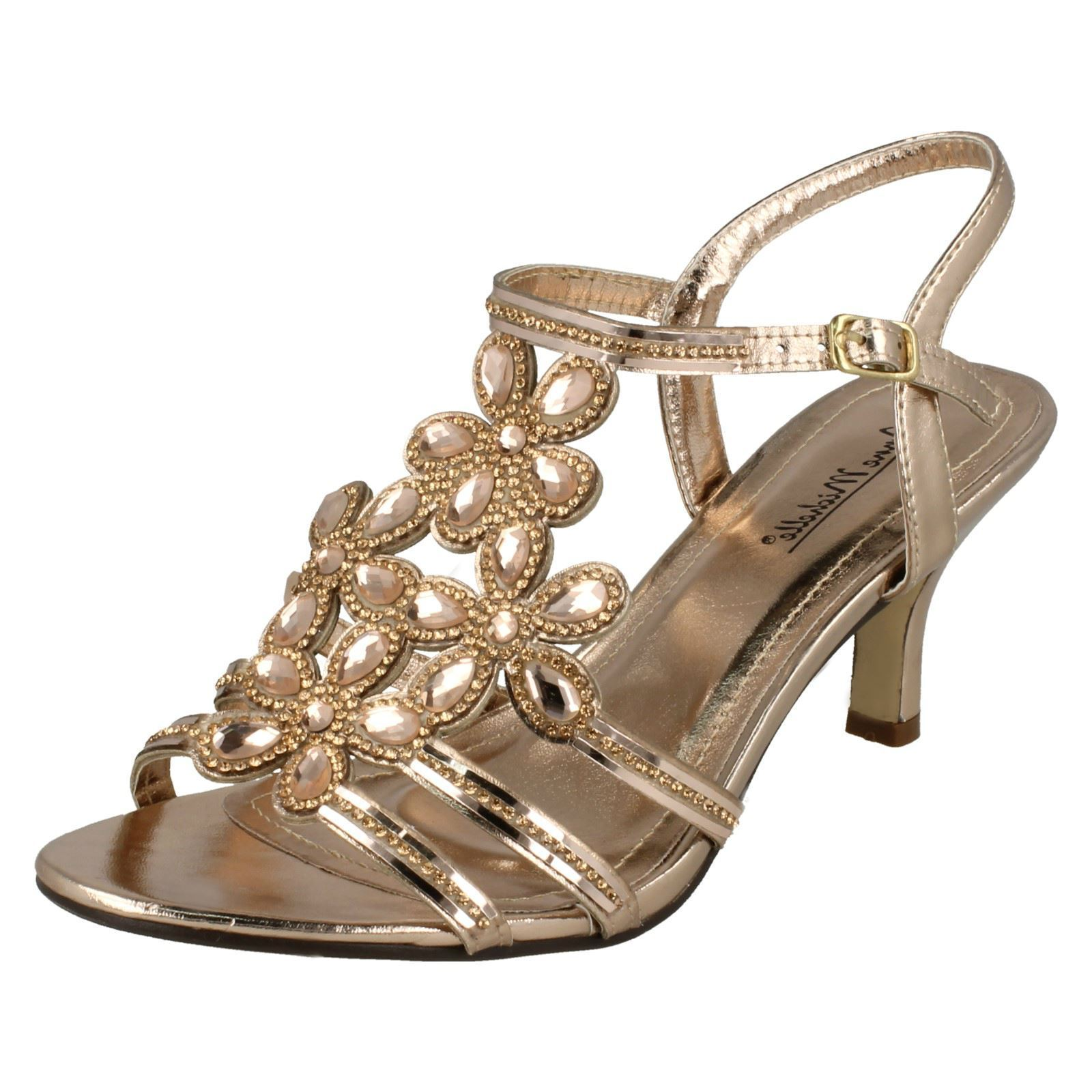 Ladies F10581 Rose Gold Evening Sandals by Anne Michelle -