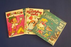 Peter-Pan-Book-amp-Record-Cinderella-Little-Red-Riding-Hood-Pinocchio-Lot-45-RPM
