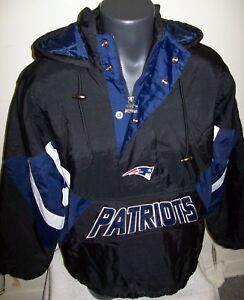 9a7a2d9c Details about NEW ENGLAND PATRIOTS Starter Hooded Half Zip Pullover Jacket  S M L XL 2X BLACK