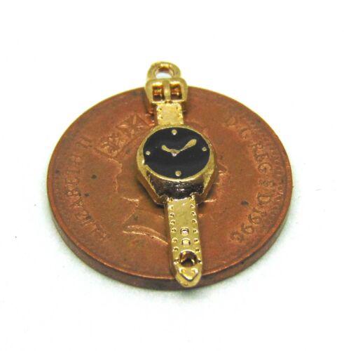 1:12th Orologio Da Polso in Metallo scala con Black Face Casa delle Bambole Accessorio in miniatura