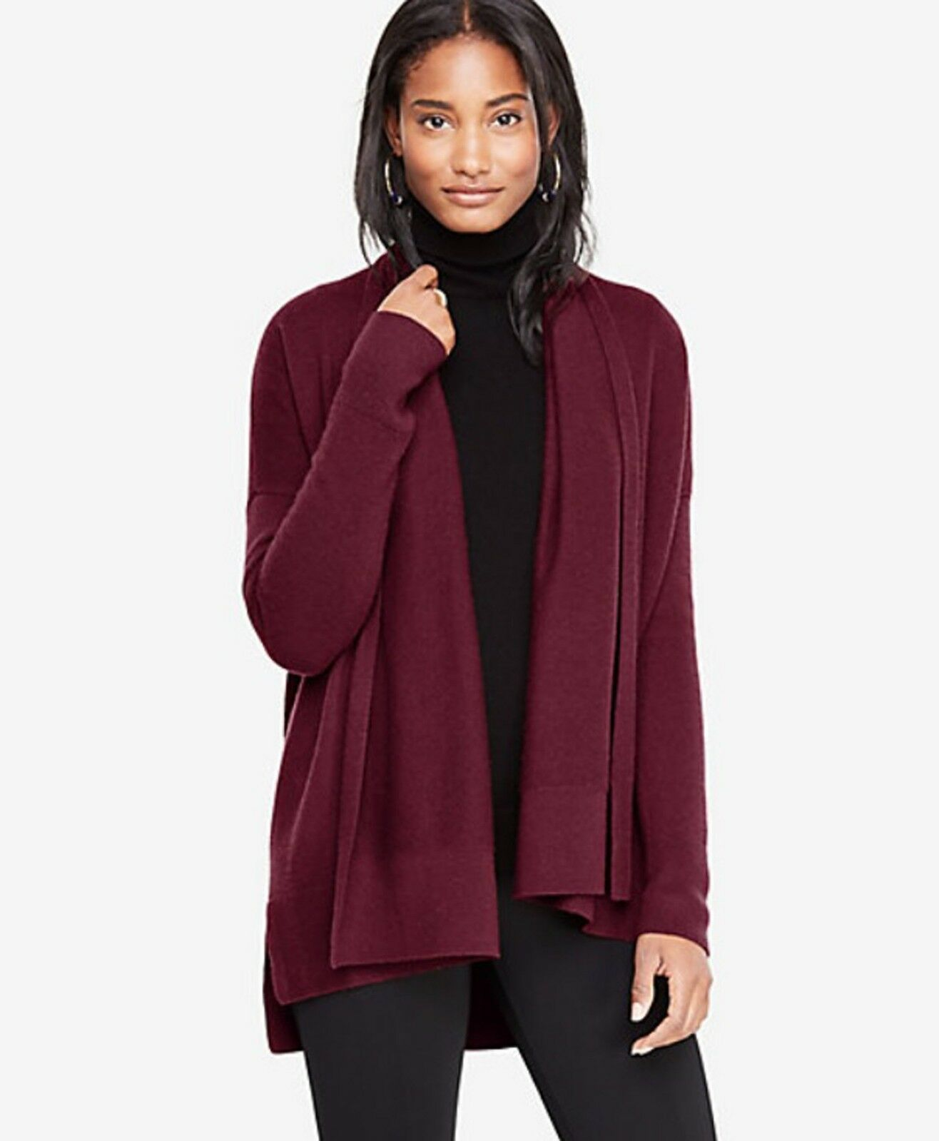 NWT Ann Taylor Tinto Red Cashmere Ribbed Open Cardigan Sweater Size S