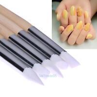 5Pcs Silicone Nail Art Design Stamp Pen Brush UV Gel Carving Craft Sculpture Pen