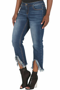 9348d87e311 Poetic Justice Women s Curvy Fit Cropped Mid-Rise Dark Jeans Frayed ...